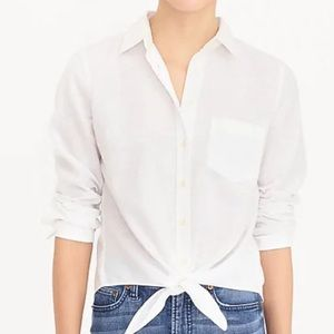 J Crew Linen Button Down Tie Front White